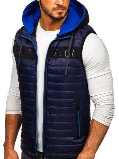 Tmavě modrá pánská vesta s kapucí Bolf 6101
