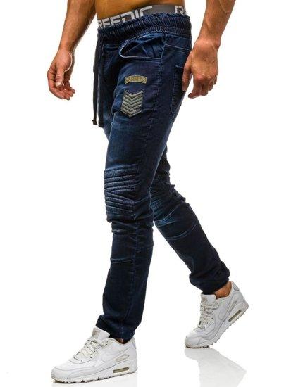 Tmavě modré pánské džínové jogger kahoty Bolf 1810