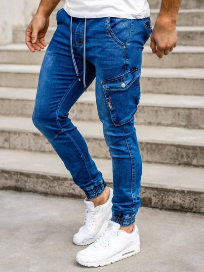 Tmavě modré pánské džínové jogger kahoty Bolf KA736-2