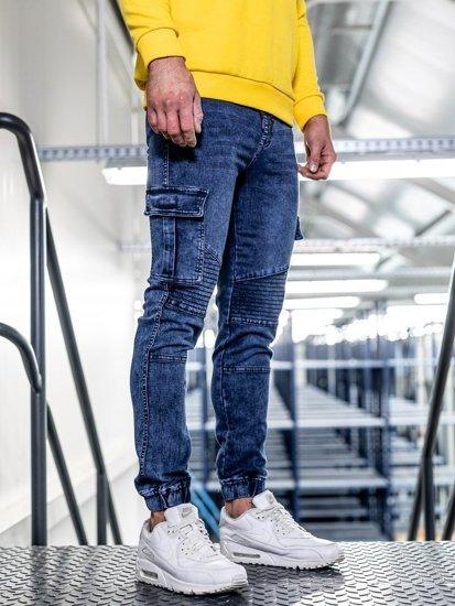 Tmavě modré pánské džínové jogger kalhoty Bolf HY622