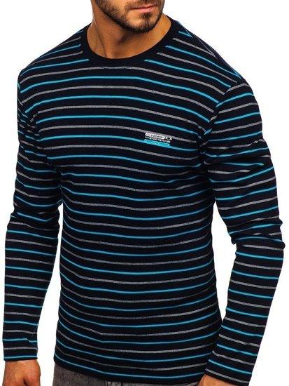 Tmavě modré pánské proužkované tričko s dlouhým rukávem Bolf 1519