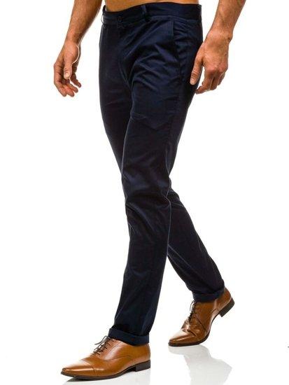 Tmavě modré pánské společenské kalhoty Bolf 0204