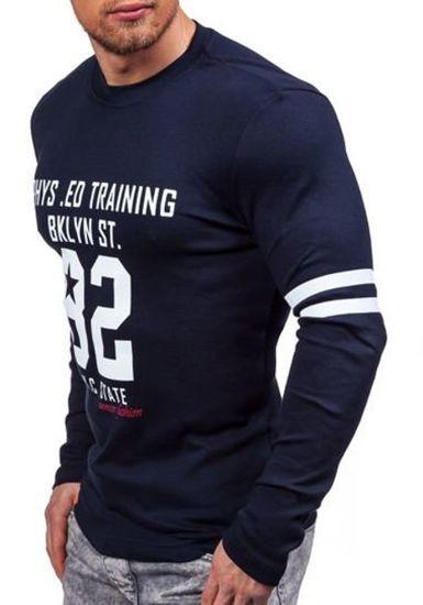 Tmavě modré pánské tričko s dlouhým rukávem a potiskem Bolf 4245