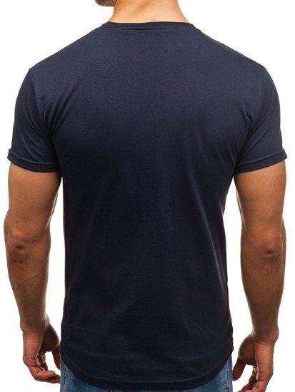 Tmavě modré pánské tričko s potiskem Bolf 006
