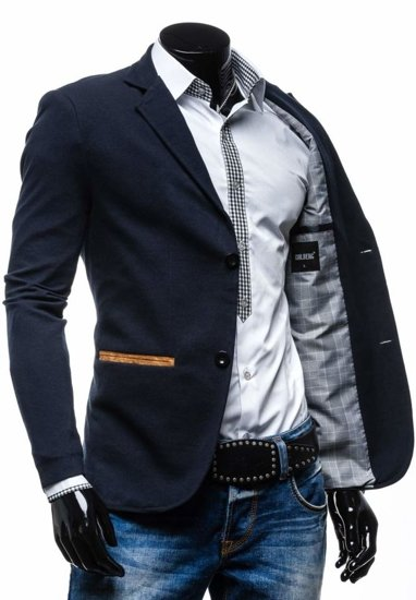 Tmavě modro-hnědé pánské sako Bolf 606