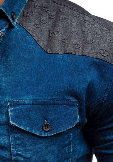 Tmavě modro-šedá pánská vzorovaná džínová košile s dlouhým rukávem Bolf 0517