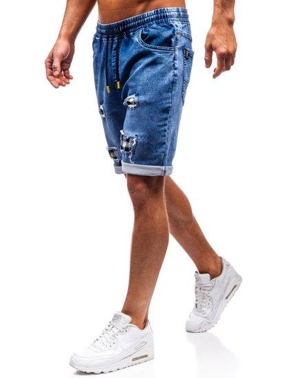 Tmavě modro-žluté pánské džínové kraťasy Bolf HY328