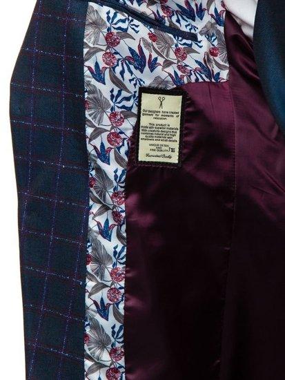 Tmavě modrý pánský oblek s vestou Bolf 18300