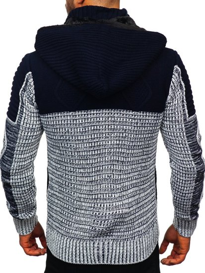 Tmavě modrý pánský silný svetr na zip s kapucí bunda Bolf 2049