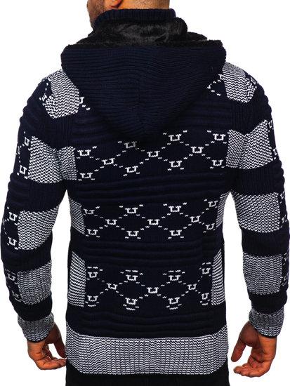 Tmavě modrý pánský silný svetr na zip s kapucí bunda Bolf 2059