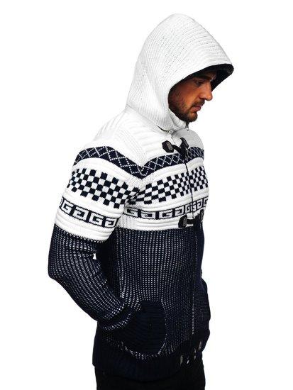 Tmavě modrý pánský silný svetr na zip s kapucí bunda Bolf 2061
