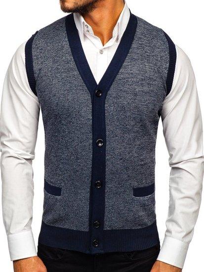 Tmavě modrý pánský svetr bez rukávů Bolf 8133