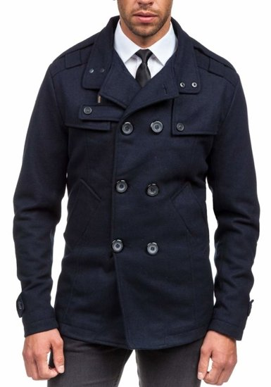 Tmavě modrý pánský zimní kabát Bolf EX903