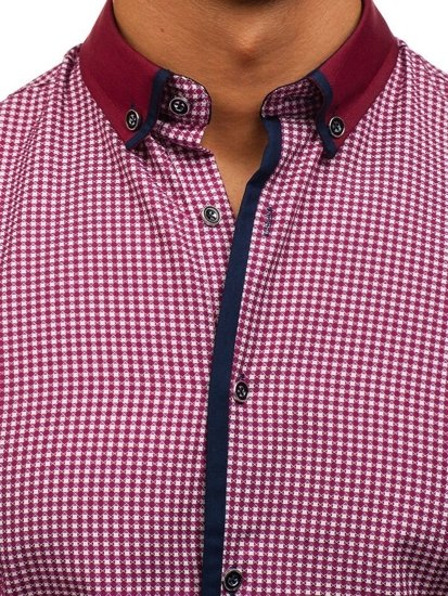 Vínová pánská vzorovaná košile s dlouhým rukávem Bolf 8806