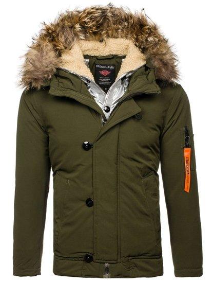 Zelená pánská zimní bunda Bolf AM703