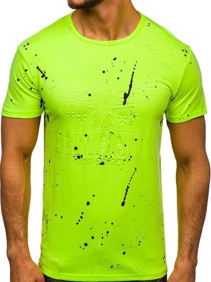 Zeleno-neonové pánské tričko s potiskem Bolf SS11015