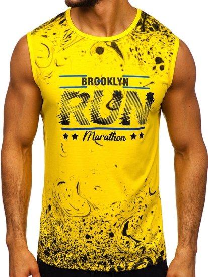 Žluté pánské tričko s potiskem Bolf KS2075