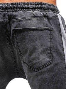 Antracitové pánské džínové jogger kalhoty Bolf 2047