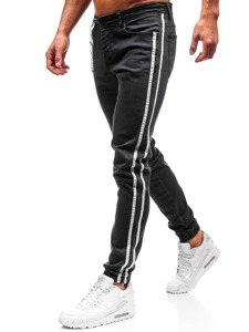 Antracitové pánské džínové jogger kalhoty Bolf 2057