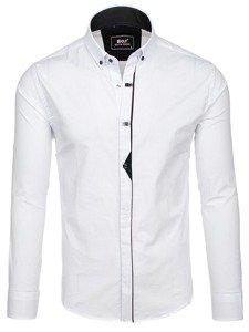 Bílá pánská elegantní košile s dlouhým rukávem Bolf 7711