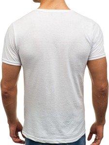 Bílé pánské tričko bez potisku s výstřihem do V Bolf 1002