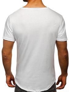 Bílé pánské tričko bez potisku s výstřihem do V Bolf 4049