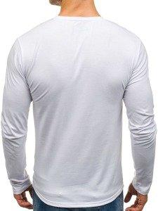 Bílé pánské tričko s dlouhým rukávem a potiskem Bolf SX072