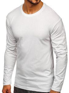 Bílé pánské tričko s dlouhým rukávem bez potisku Bolf 1209