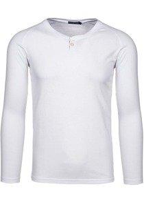 Bílé pánské tričko s dlouhým rukávem bez potisku Bolf 5547