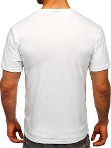 Bílé pánské tričko s potiskem Bolf 007