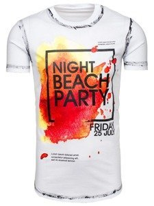 Bílé pánské tričko s potiskem Bolf s024