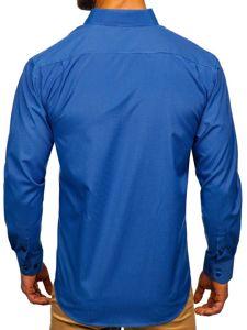 Blankytná pánská elegantní proužkovaná košile s dlouhým rukávem Bolf NDT9