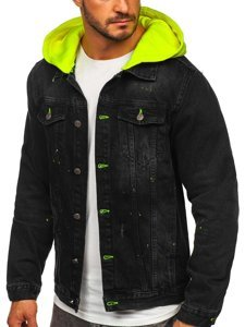 Černá pánská džínová bunda s kapucí Bolf 1-2