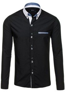Černá pánská elegantní košile s dlouhým rukávem Bolf 6945