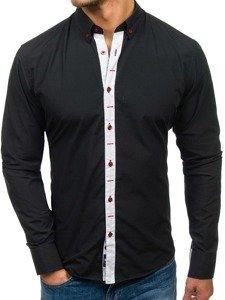 Černá pánská elegantní košile s dlouhým rukávem Bolf 6951
