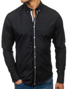 Černá pánská elegantní košile s dlouhým rukávem Bolf 7726