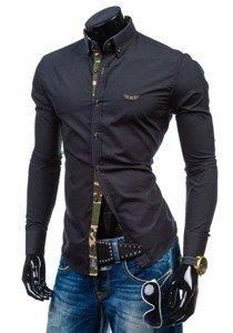 Černá pánská košile s dlouhým rukávem Bolf 6850