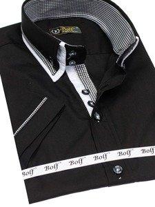 Černá pánská košile s krátkým rukávem Bolf 3520