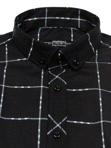 Černá pánská kostkovaná košile s dlouhým rukávem Bolf 0280