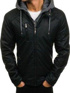 Černá pánská koženková bunda Bolf 3144
