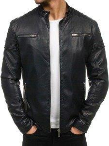 Černá pánská koženková bunda Bolf EX388