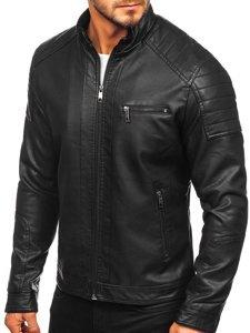 Černá pánská koženková bunda biker Bolf 88903