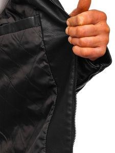 Černá pánská koženková bunda biker Bolf 88906