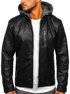 Černá pánská koženková bunda s kapucí Bolf 1150