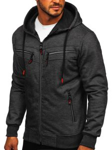 Černá pánská mikina na zip s kapucí Bolf TC944