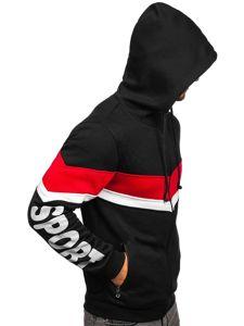 Černá pánská mikina na zip s kapucí a se sluchátky Bolf 81053
