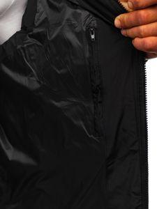 Černá pánská prošívaná vesta s kapucí Bolf 1189