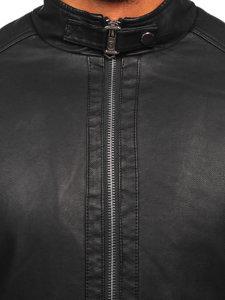 Černá pánská zateplená koženková bunda biker Bolf 92535