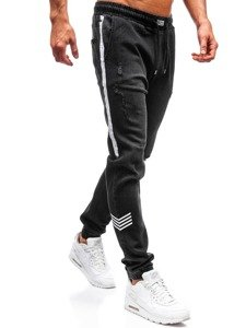 Černé pánské džínové jogger kalhoty Bolf 2055