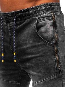 Černé pánské džínové jogger kalhoty Bolf KA755